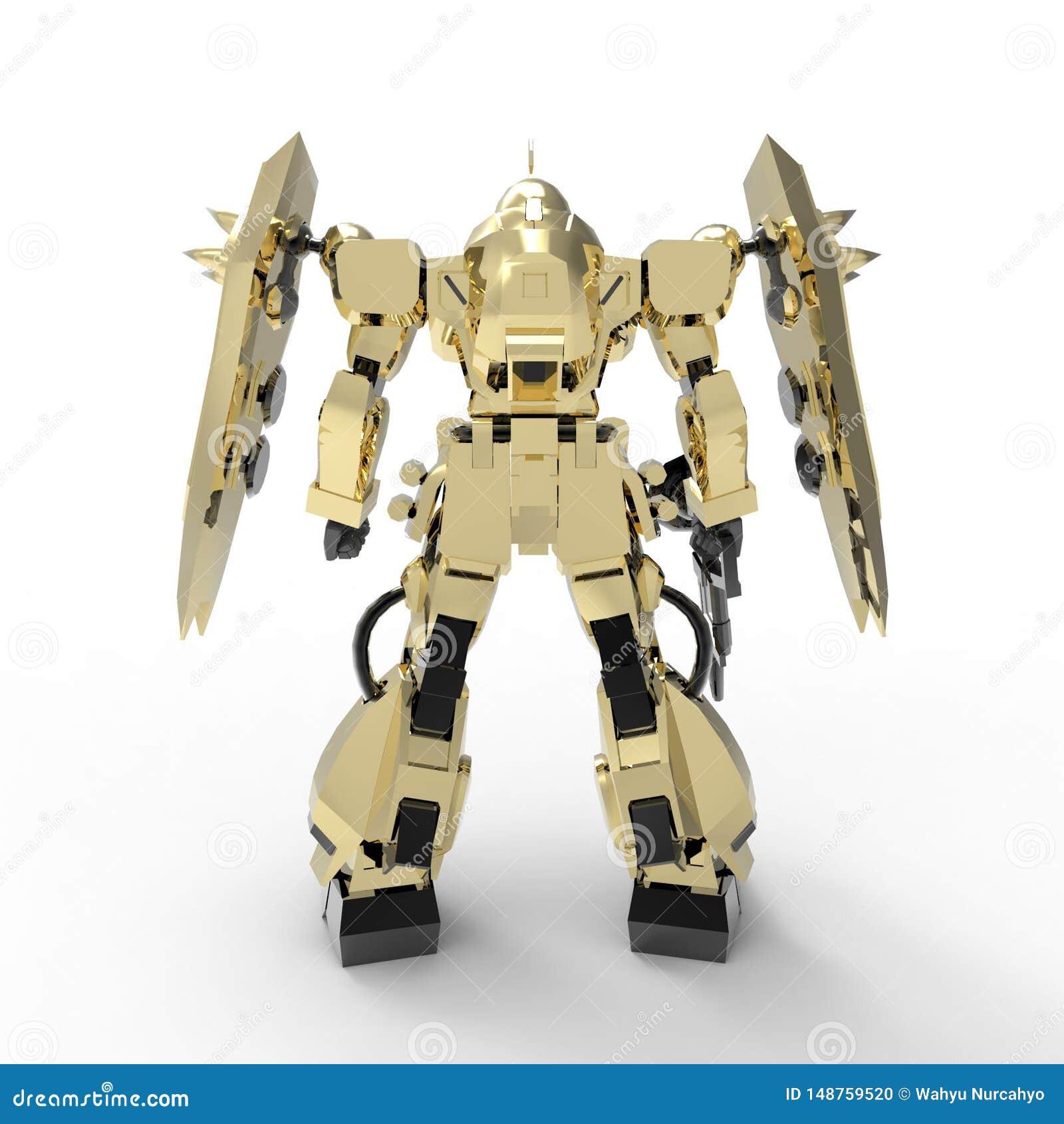 Situaci?n mech del soldado de la ciencia ficci?n en un fondo blanco Robot futurista militar con un verde y un metal gris del colo