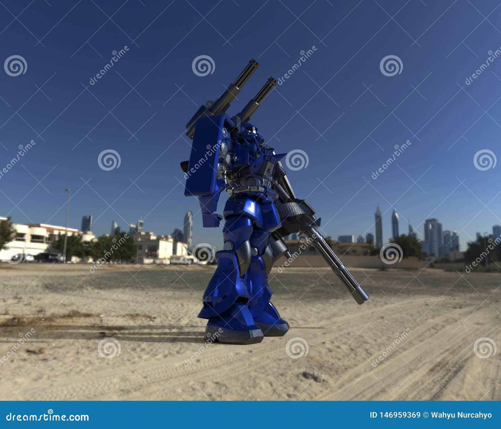 Situaci?n mech del soldado de la ciencia ficci?n en un fondo del paisaje Robot futurista militar con un verde y un metal gris del