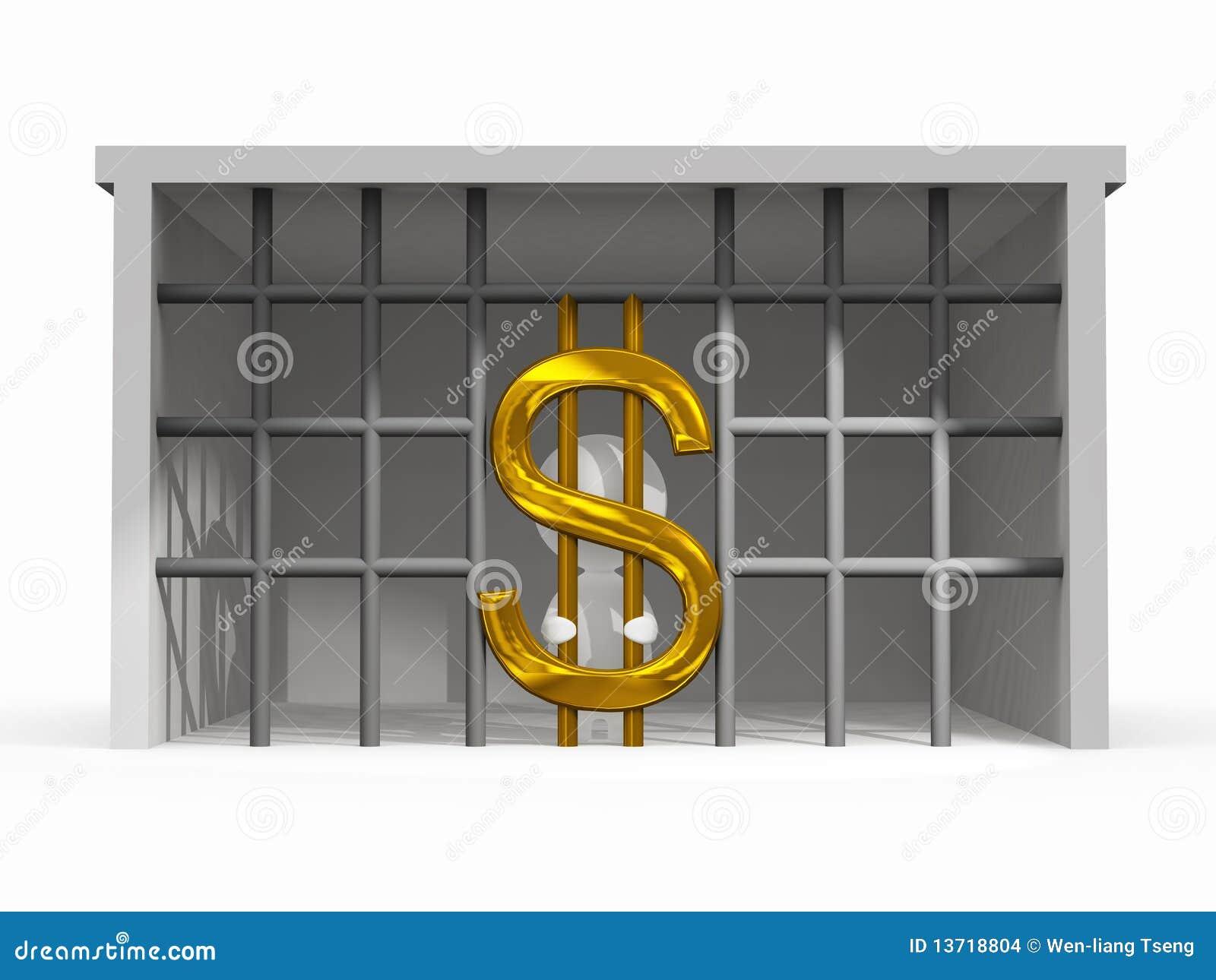 Situation de difficulté de finances avec le symbole du dollar