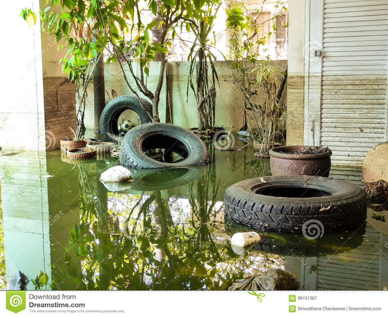 Situation after heavy flood for a month