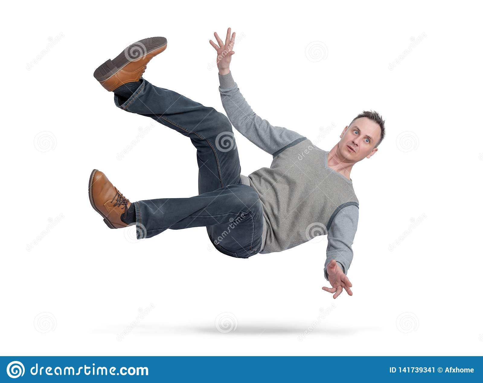 Situation, the man in casual clothes is falling down. isolated on white background. Concept of an accident