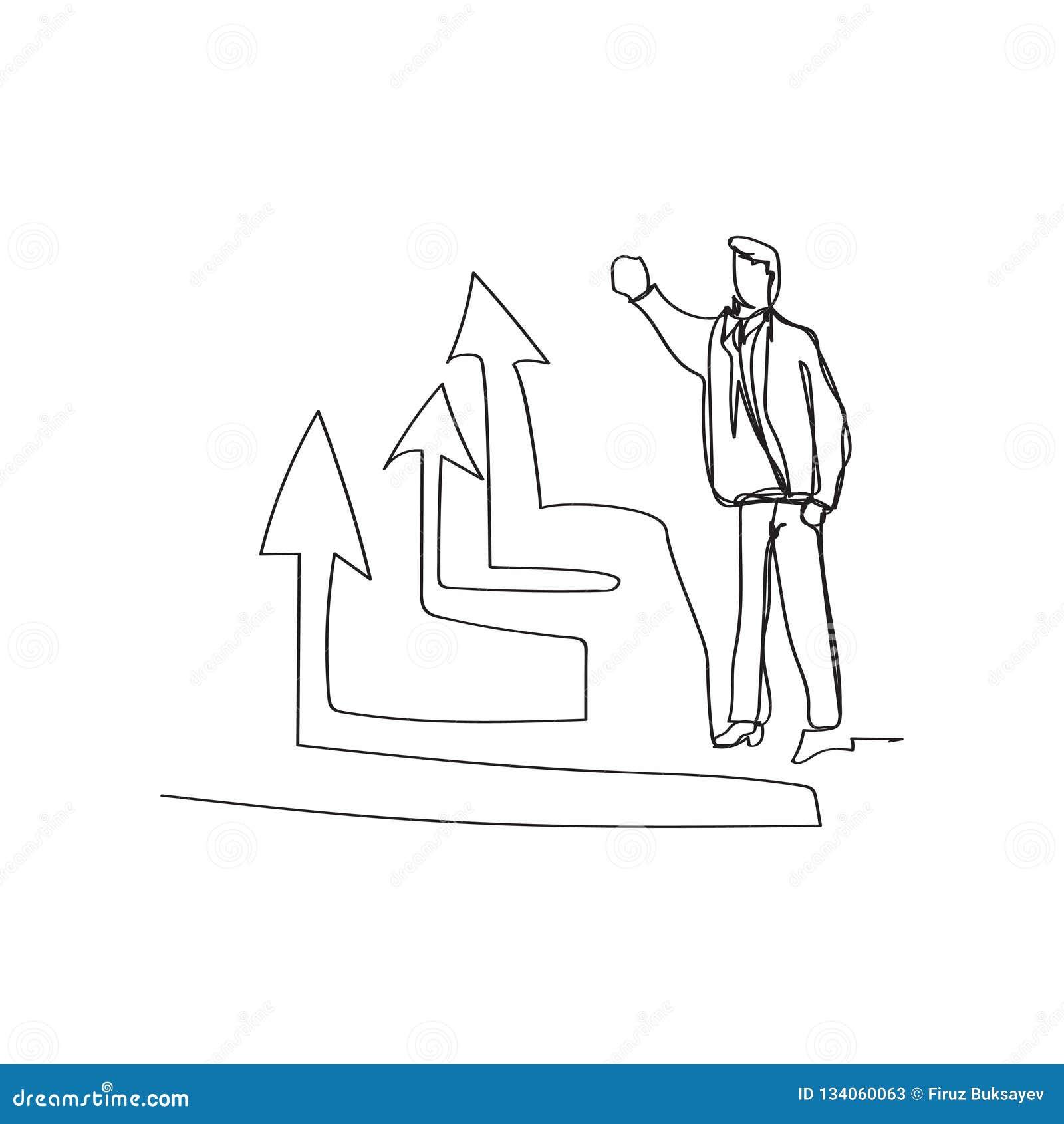 Situazione aziendale - uomo d affari diritto che presenta diagramma aumentante in continuo stile del disegno a tratteggio, vettor