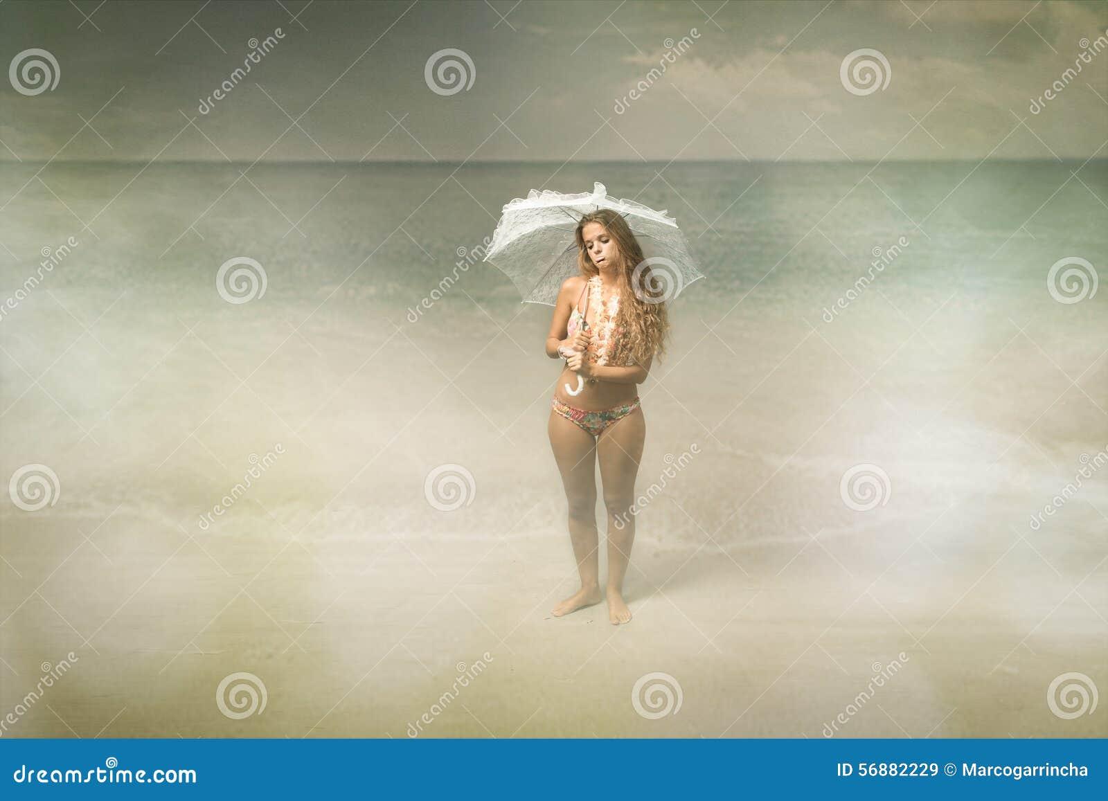 Situazione del maltempo della spiaggia
