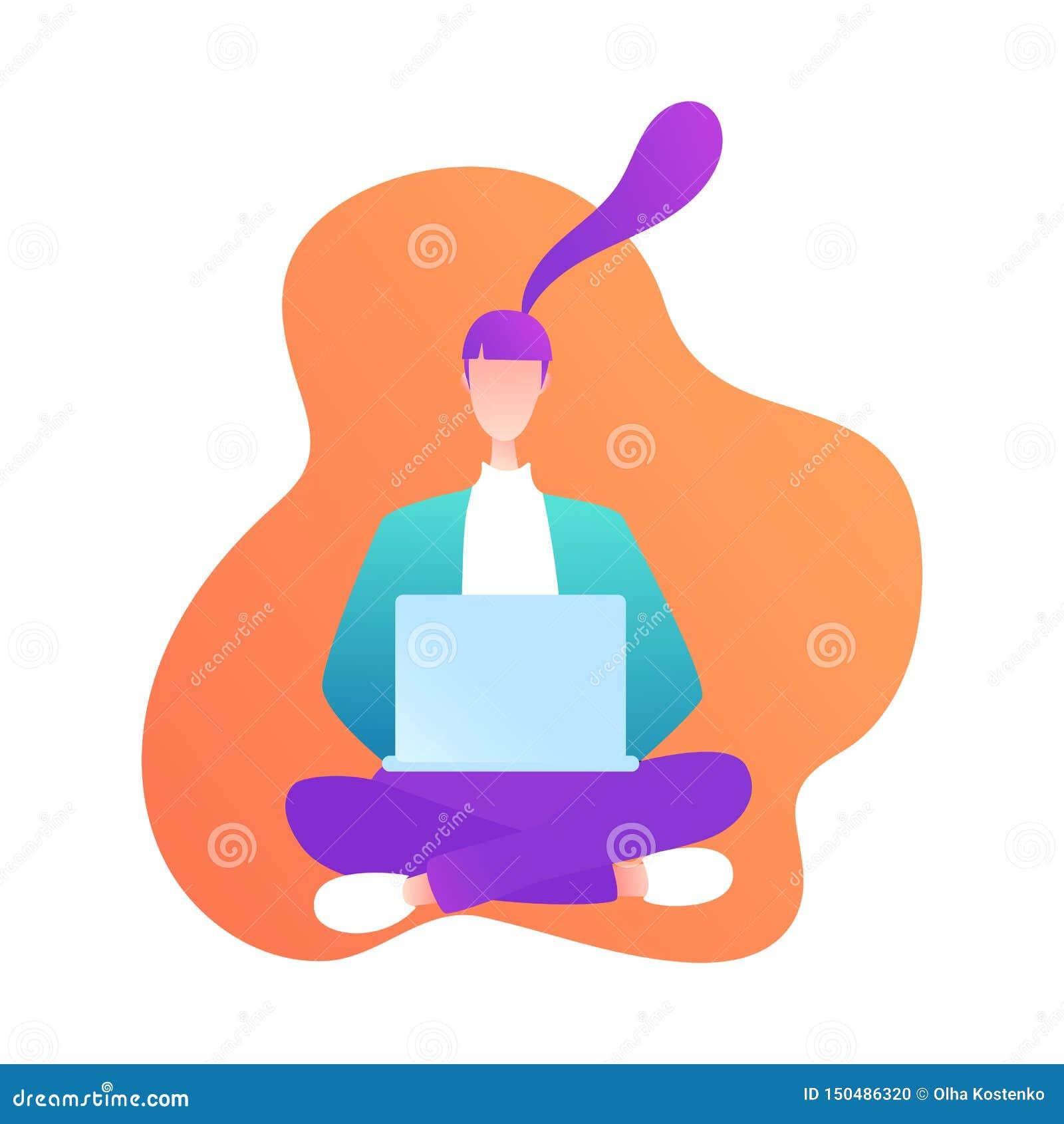 Sitzendes Mädchen mit Laptop in der modernen Art Junge Frau, die Computer verwendet On-line-Kommunikation On-line-E-Learning