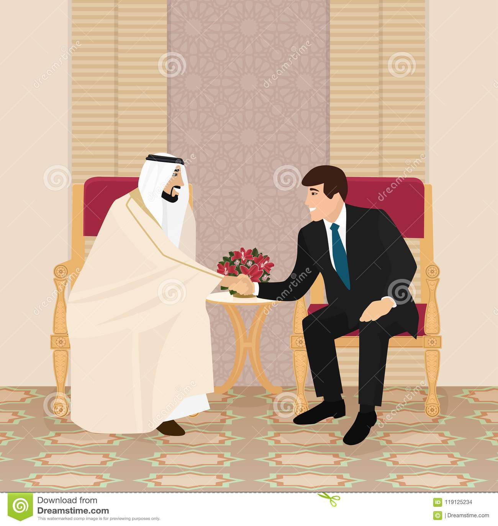 Sitzung des Arabers und der Europäergeschäftsmänner oder der -politiker