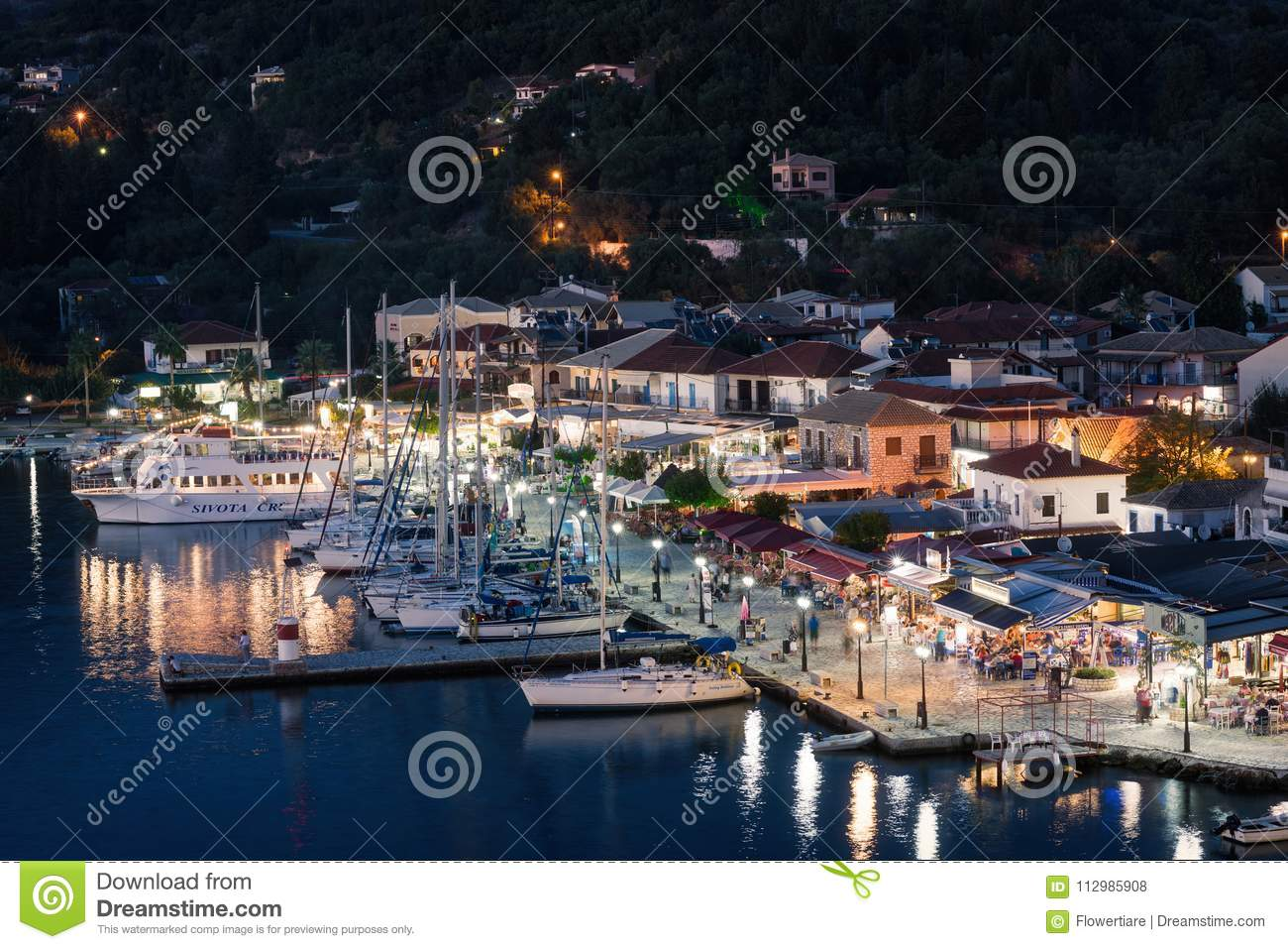 Sivota, Greece, 09 September, 2017 Panorama of the center of the town of Sivota in the Greece.