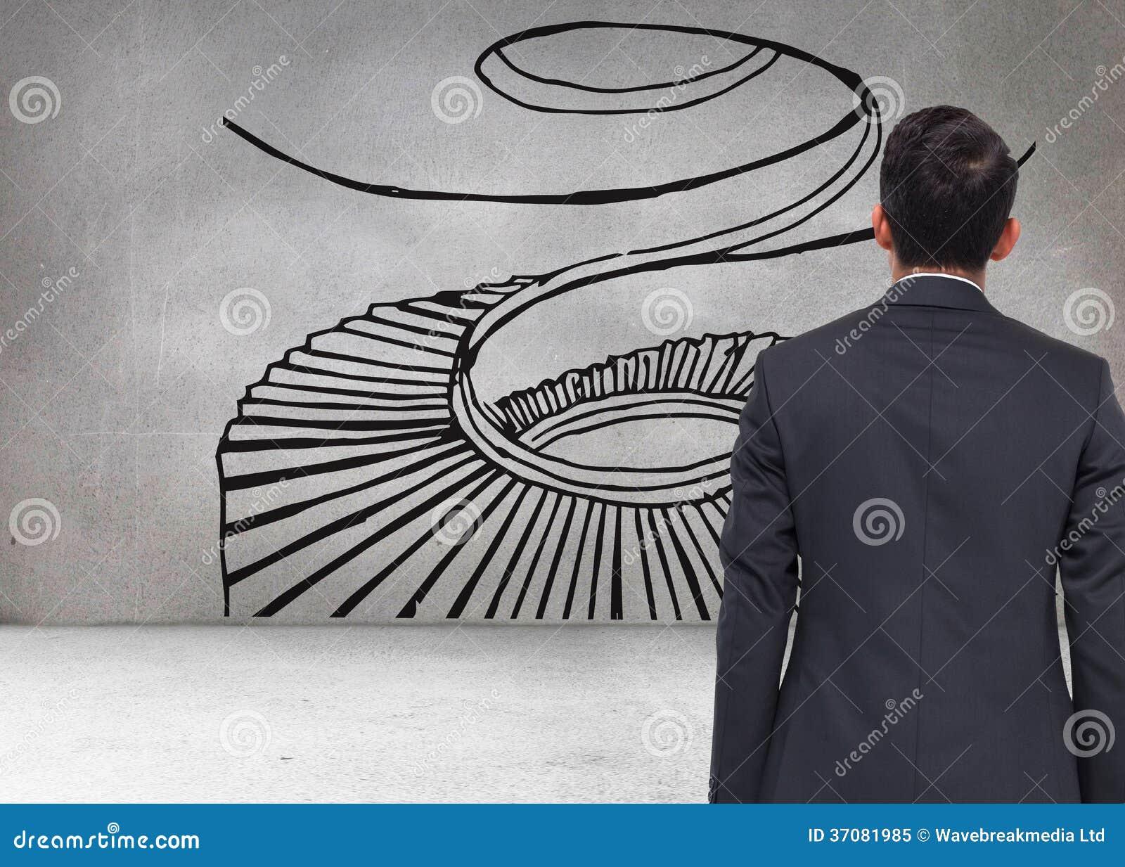 Download Siwieje ścianę Z ślimakowatym Schodkiem Obraz Stock - Obraz złożonej z jeden, grafika: 37081985