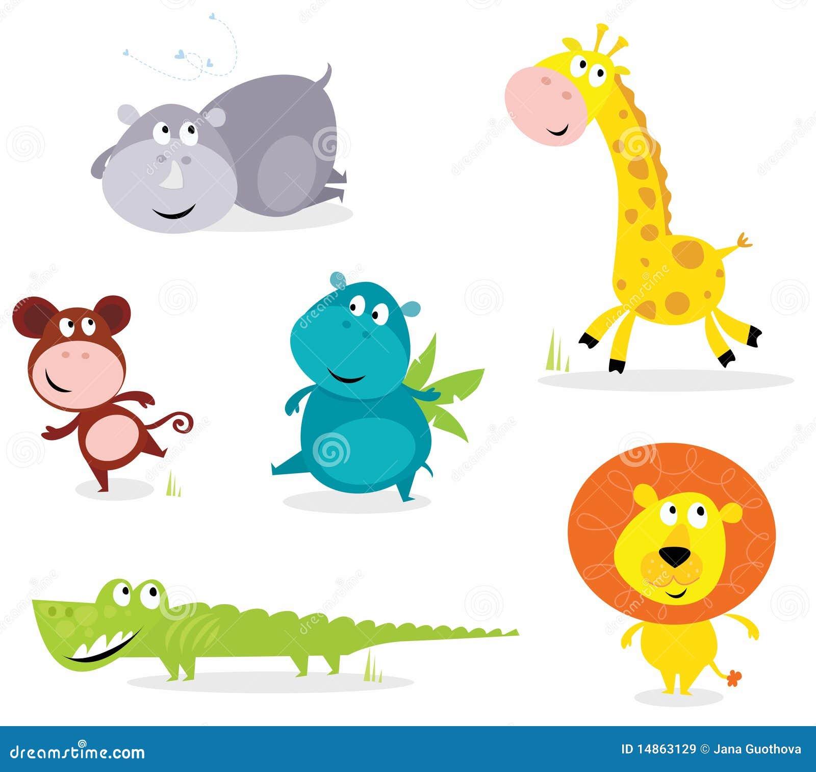 Six animaux mignons de safari - giraffe, croc, rhinocéros?