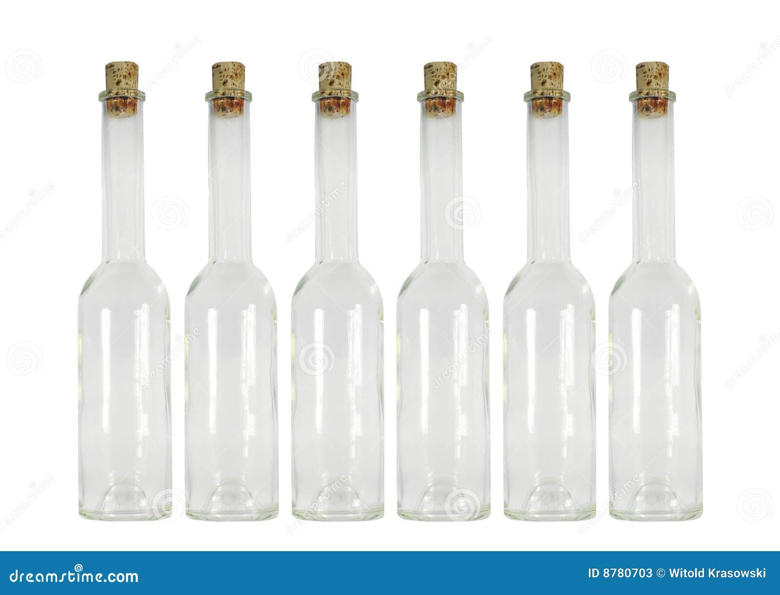 Six bouteilles vides