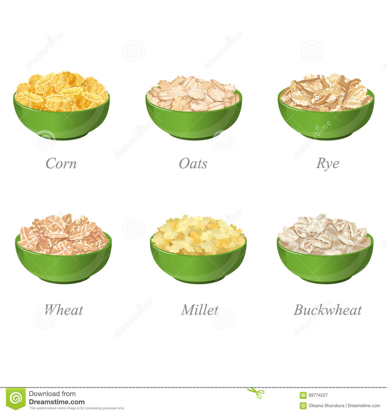 Six Bowls With Different Cereal Flakes Part One Stock