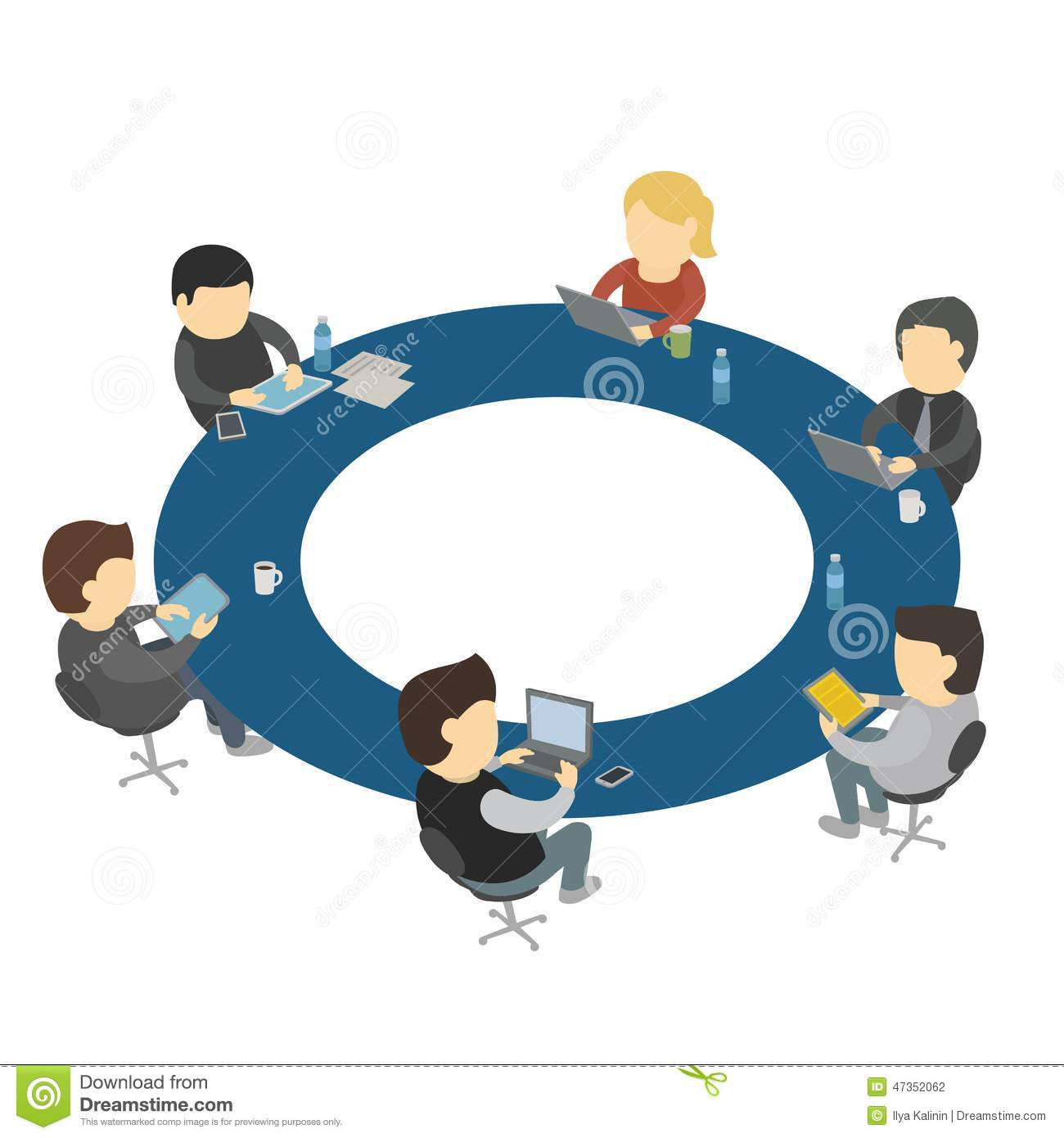 Six Cartoon People Work Sitting Round Table Stock Vector Image - Round table clip art