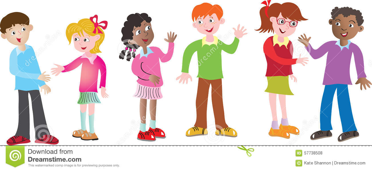 Six Children Greeting Each Other Stock Vector - Image: 57738508