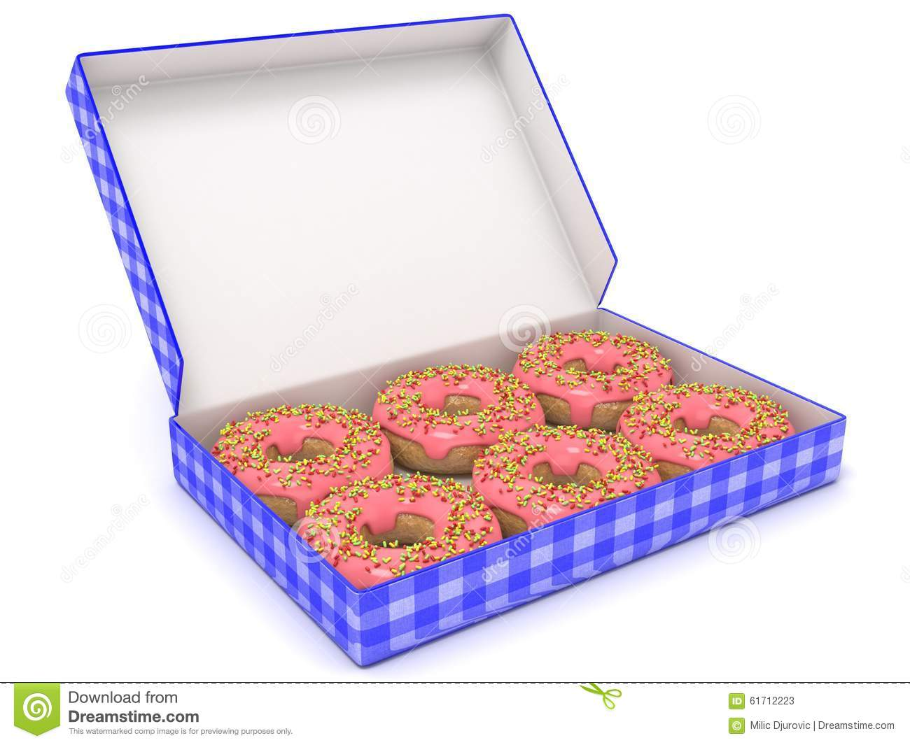 six chocolate donuts in blue box  side view  3d render