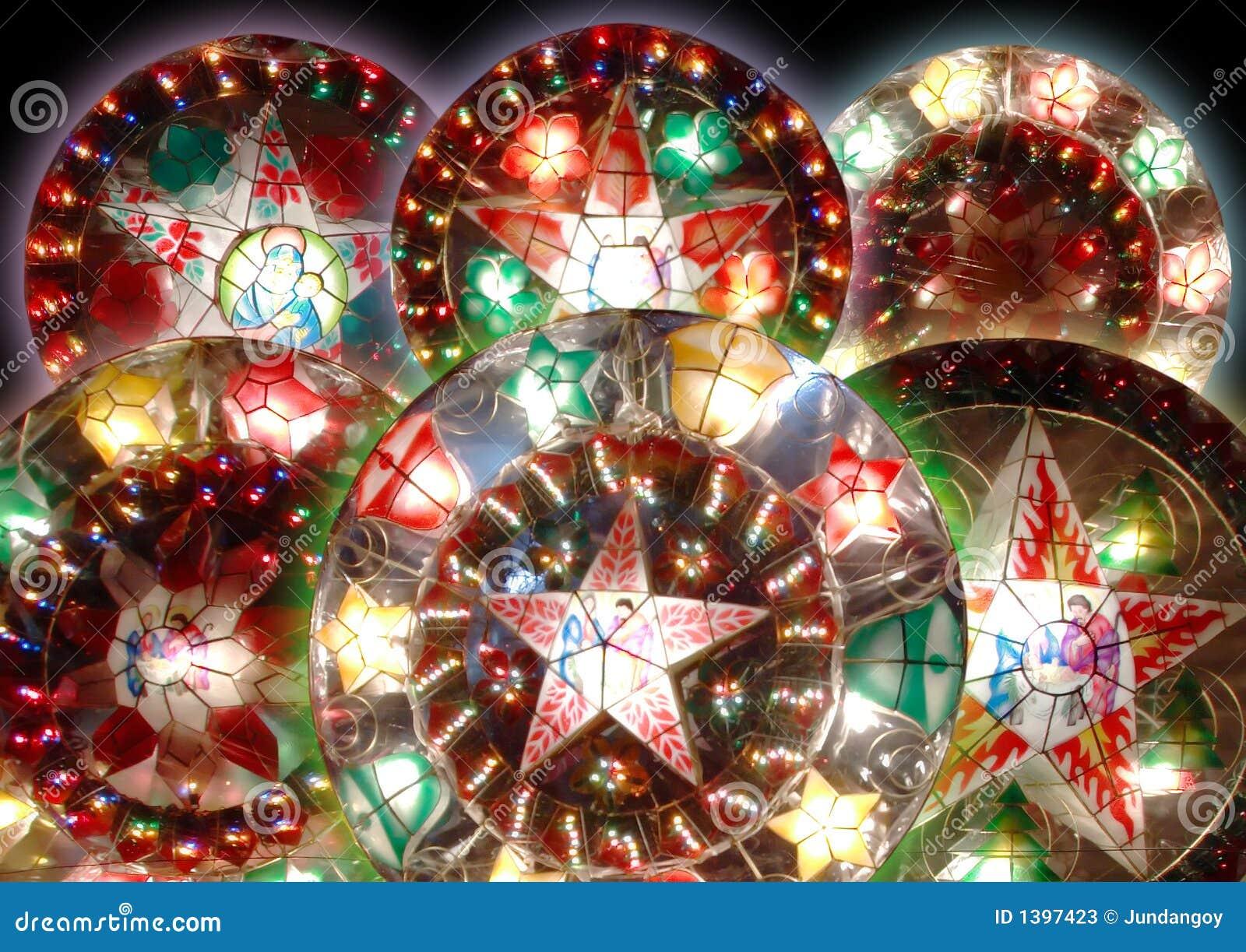 Six Christmas Lanterns Stock Image Image Of Lights Merry 1397423