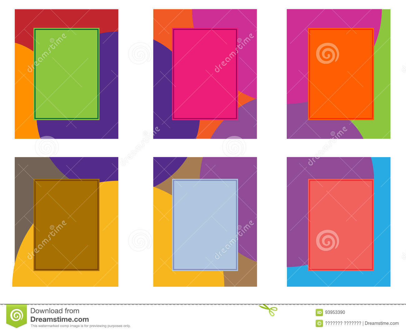 Six Colored Frames On A White Background Stock Illustration ...
