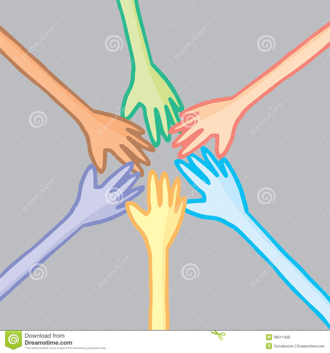 Six colorful hands in cooperation
