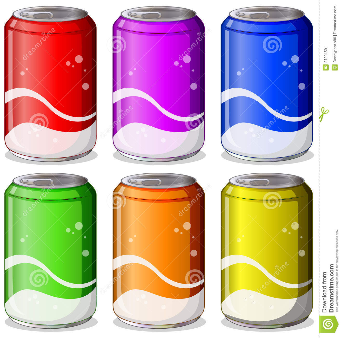 Six Colorful Soda Cans Stock Image Image 37891591