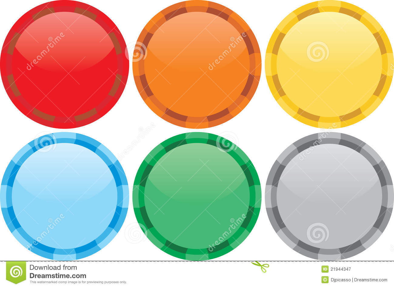 Six Colours Tokens Royalty Free Stock Photography - Image: 21944347