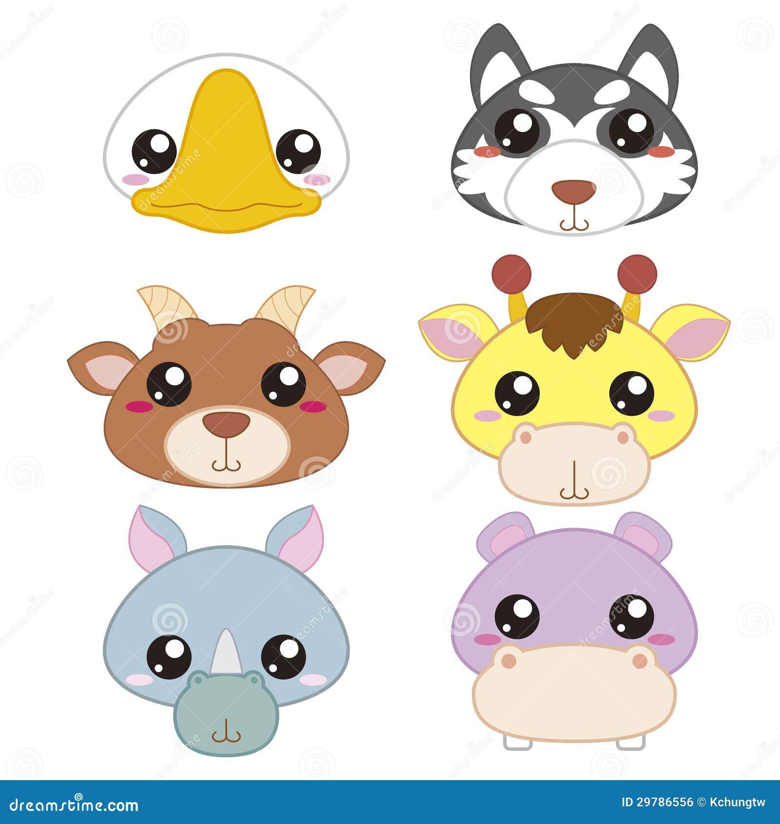 Six Cute Cartoon Animal Head Stock Vector - Illustration ... - photo#32