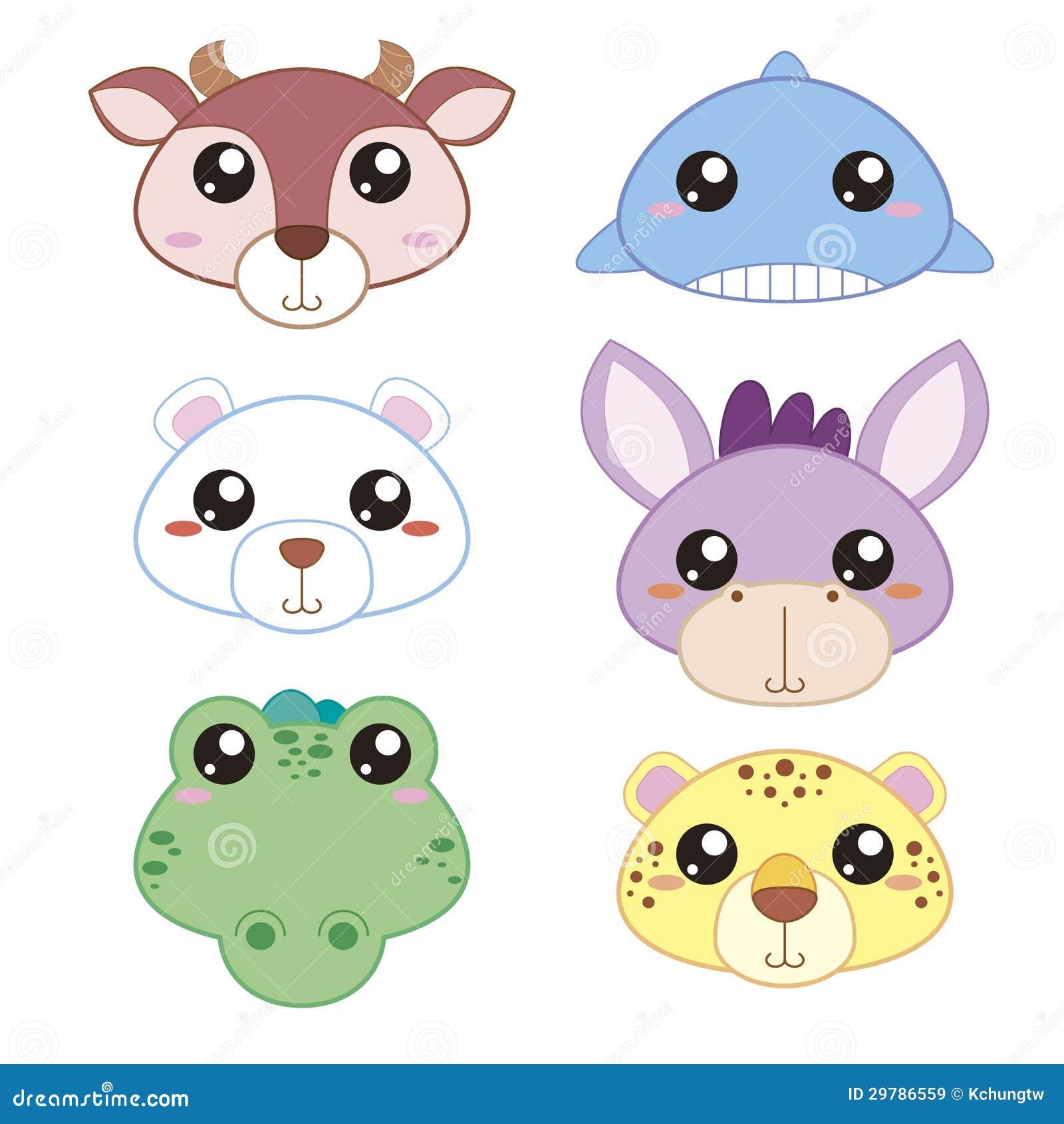 Six Cute Cartoon Animal Head Royalty Free Stock Images Image