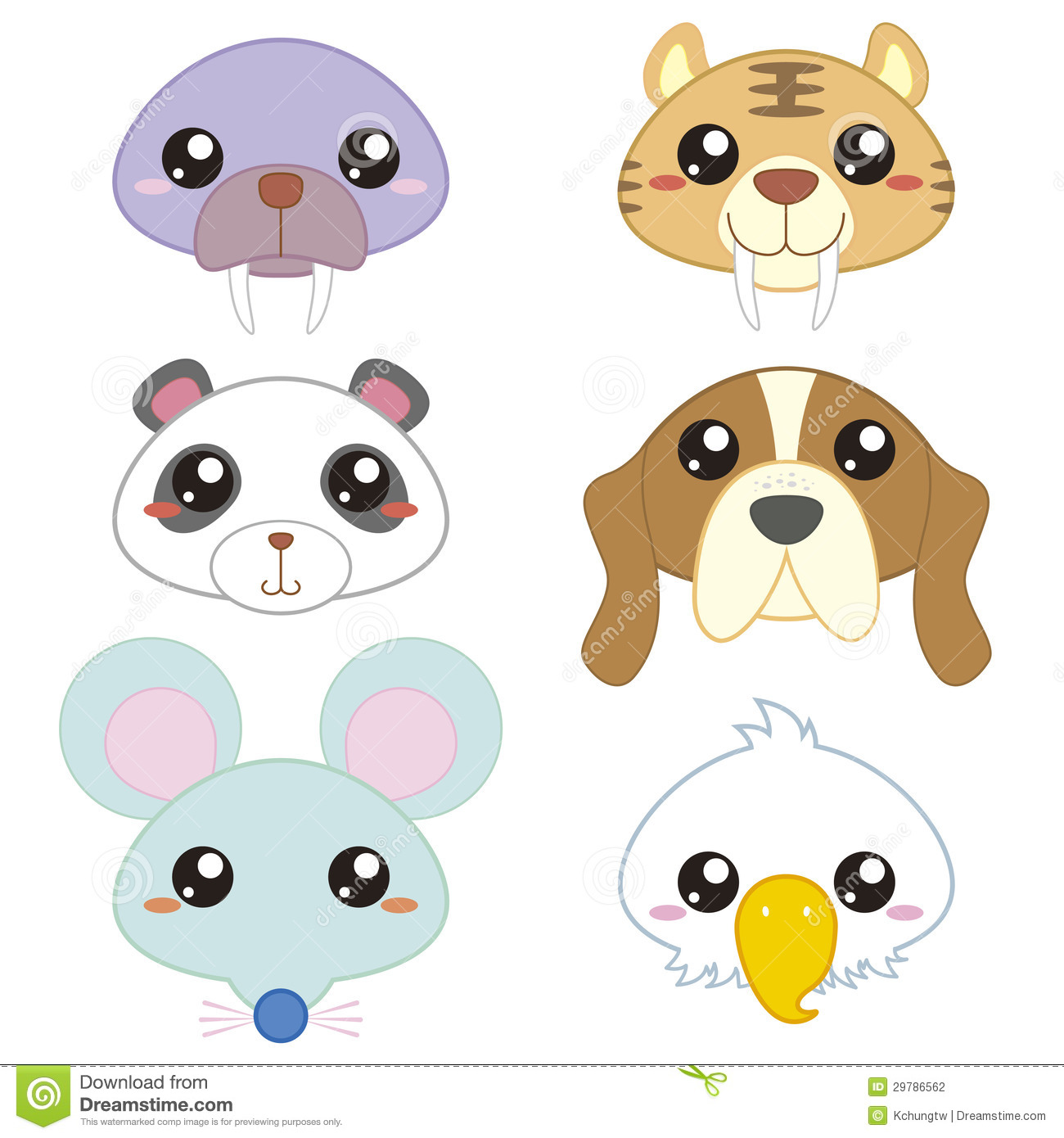 Six cute cartoon animal head stock vector image 29786562 six cute cartoon animal head voltagebd Gallery
