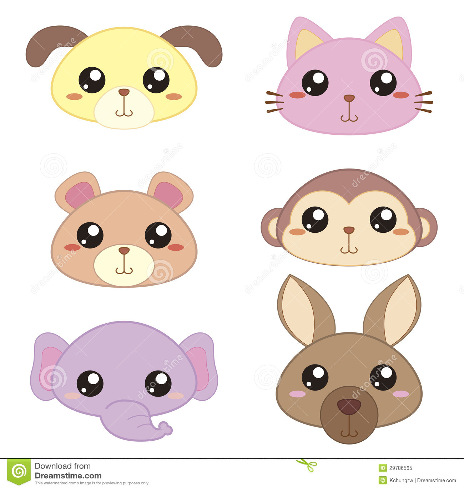 Six Cute Cartoon Animal Head Stock Vector - Illustration ... - photo#48