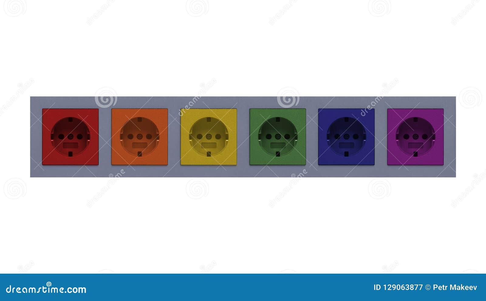 Six débouchés électriques de ports dans des couleurs colorées
