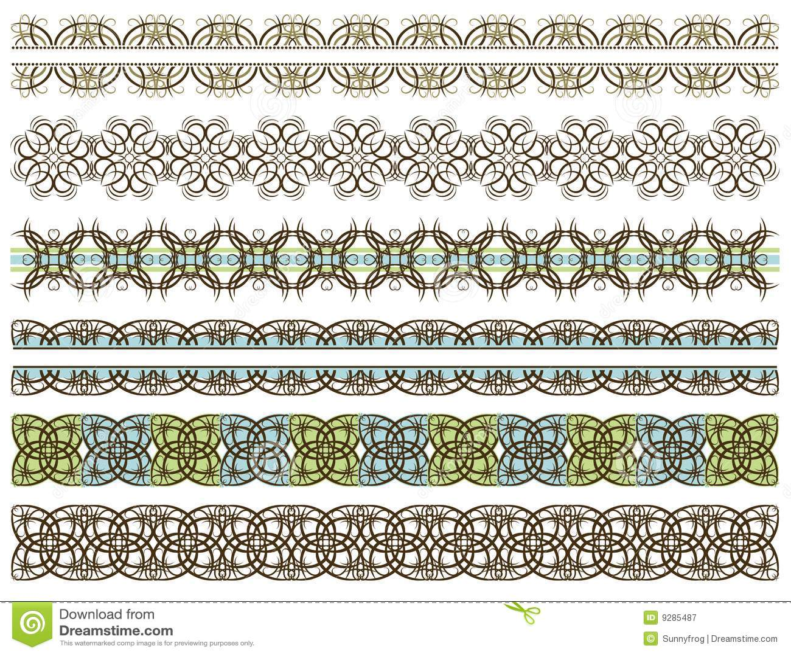 six decorative lines vector stock vector illustration of green