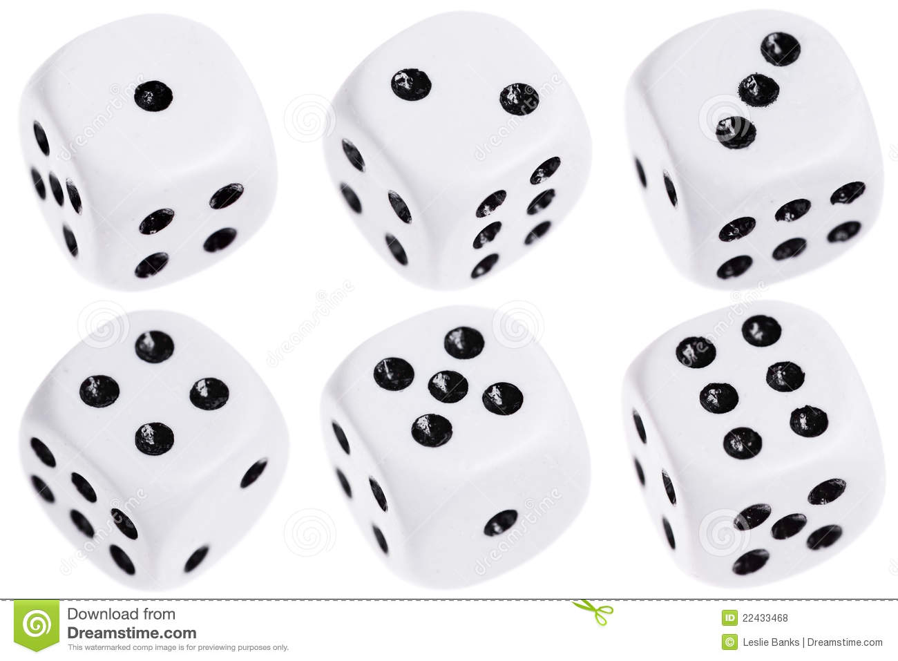Six dice isolated on white