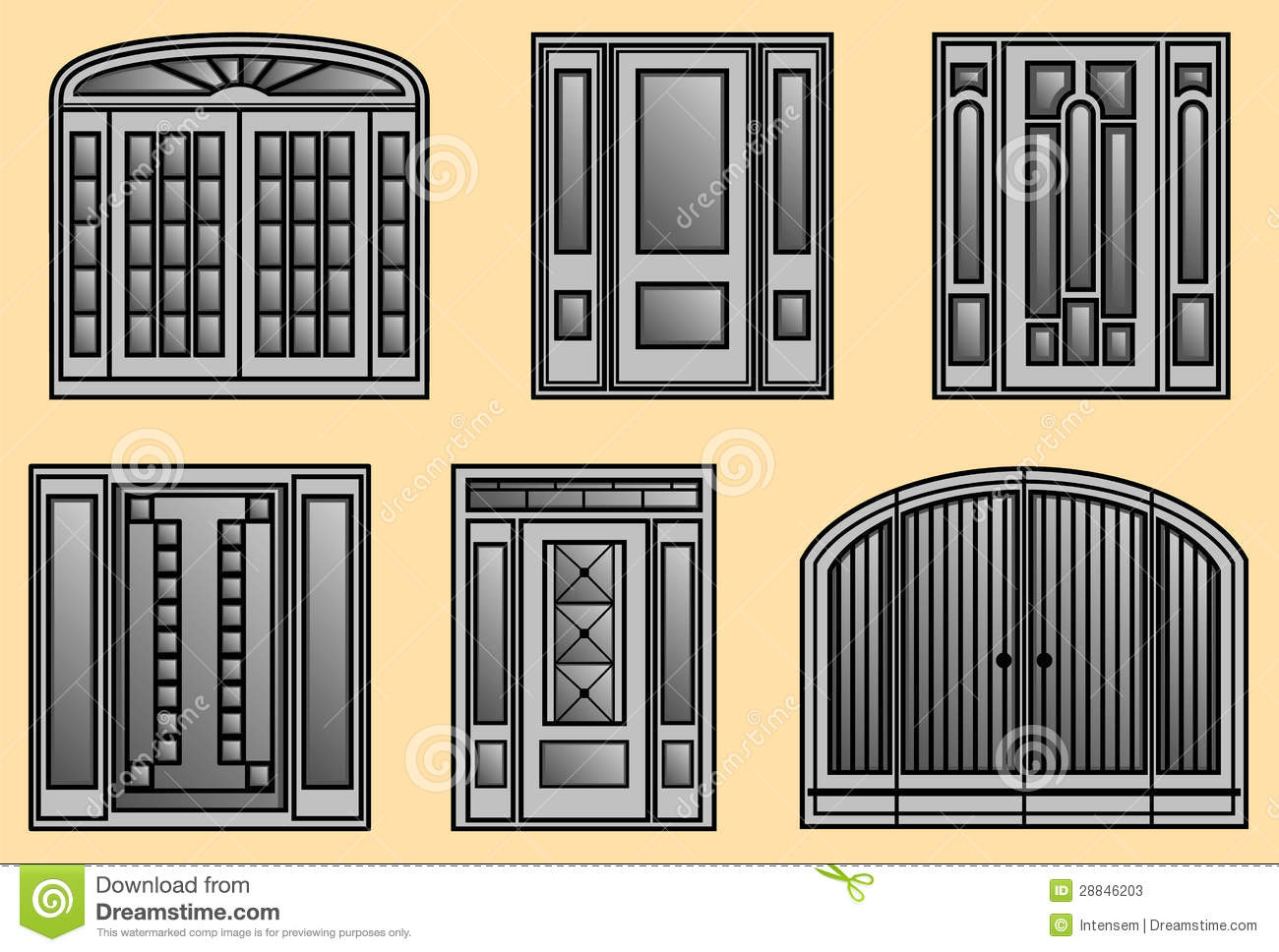 Six Different Kinds Of Door Frames Stock Vector Illustration Of