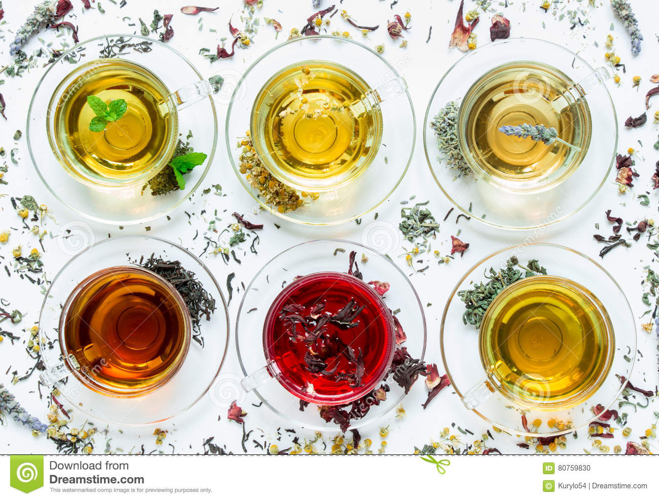 Six Different Types Of Tea Stock Photo Image Of Leaves