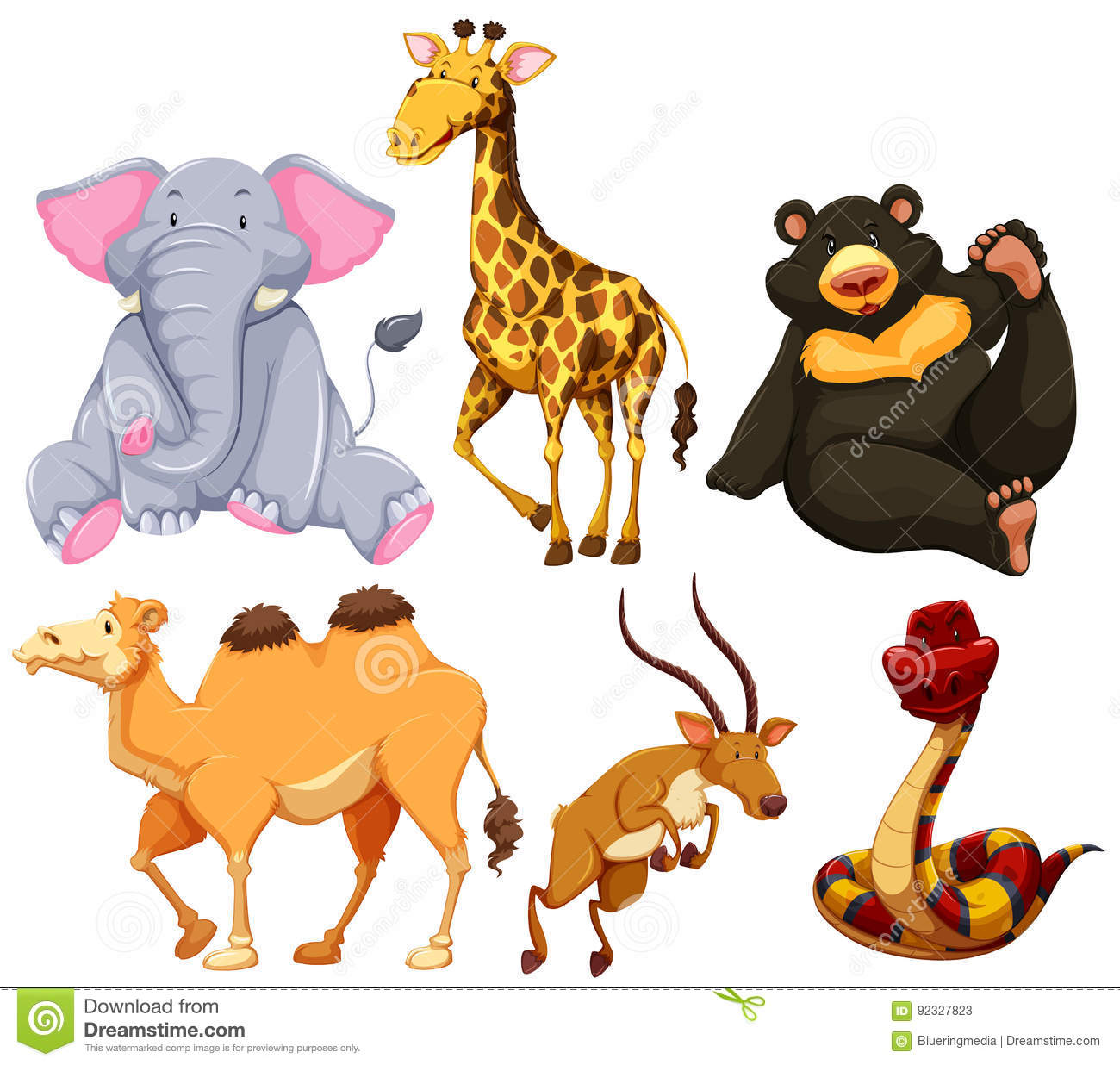 Six Different Types Of Wild Animals Stock Vector - Illustration of ...