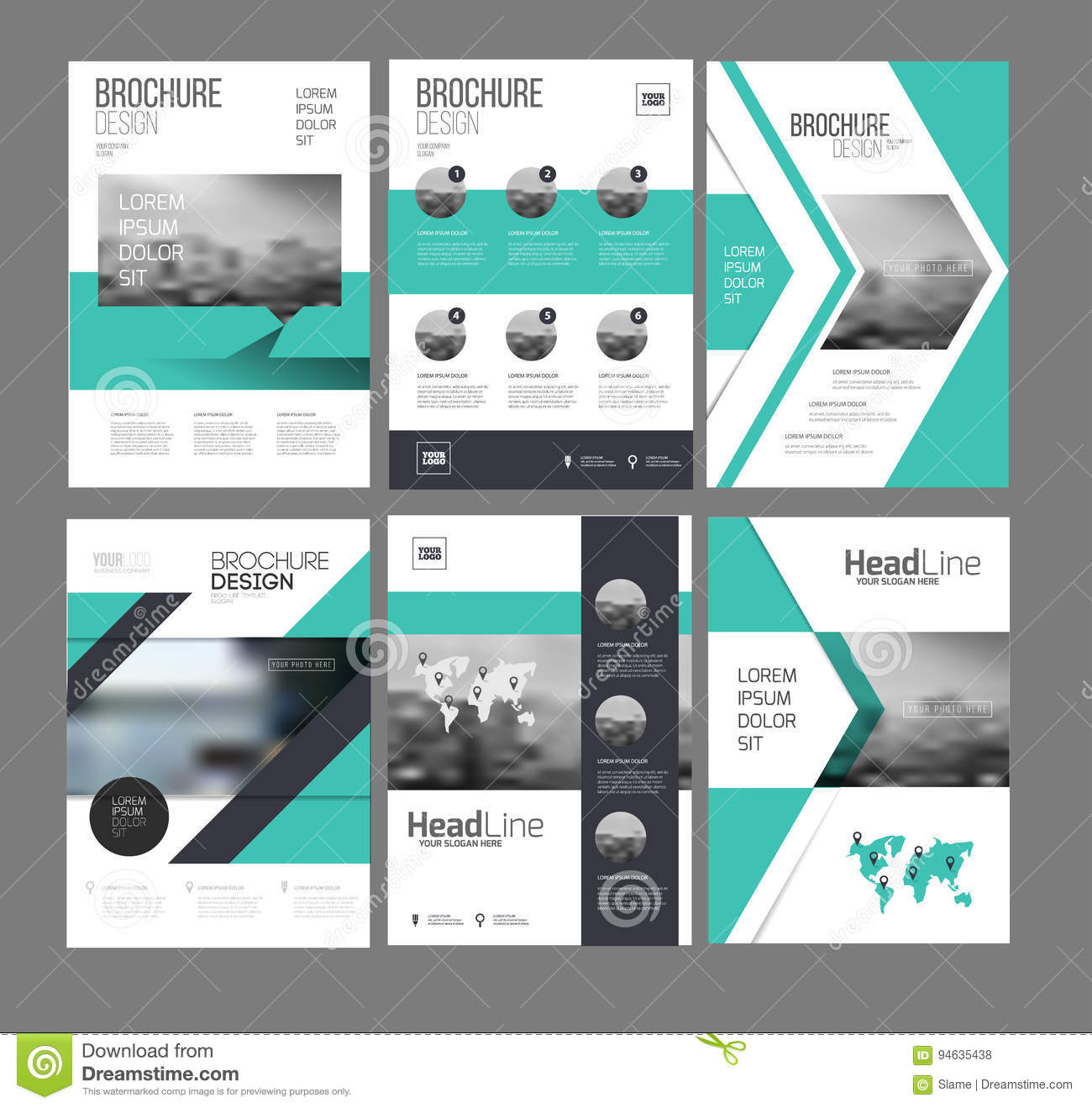 six flyer marketing templates with photo text and map stock vector