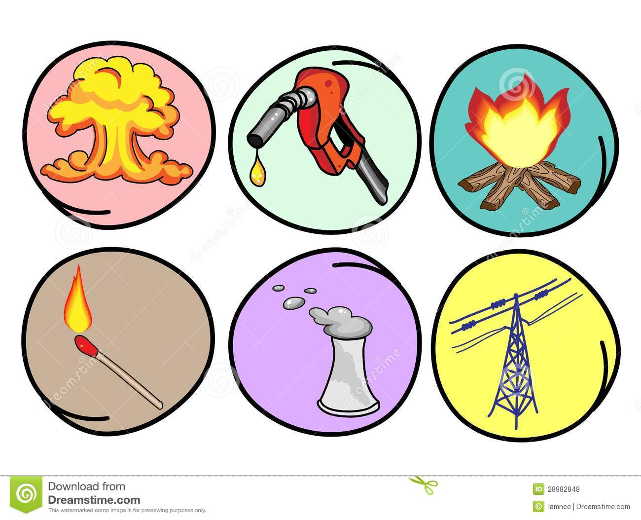 Six Forms Of Energy On Round Background Royalty Free Stock Photos ...