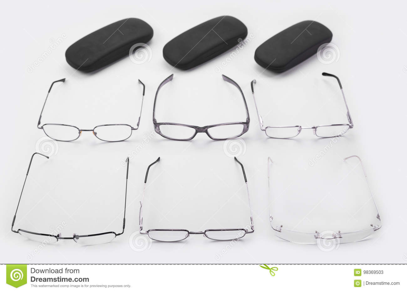37afb01a50 Six Frames For Dioptrical Glasses Plastic Or Metal Or Rimless Stock ...