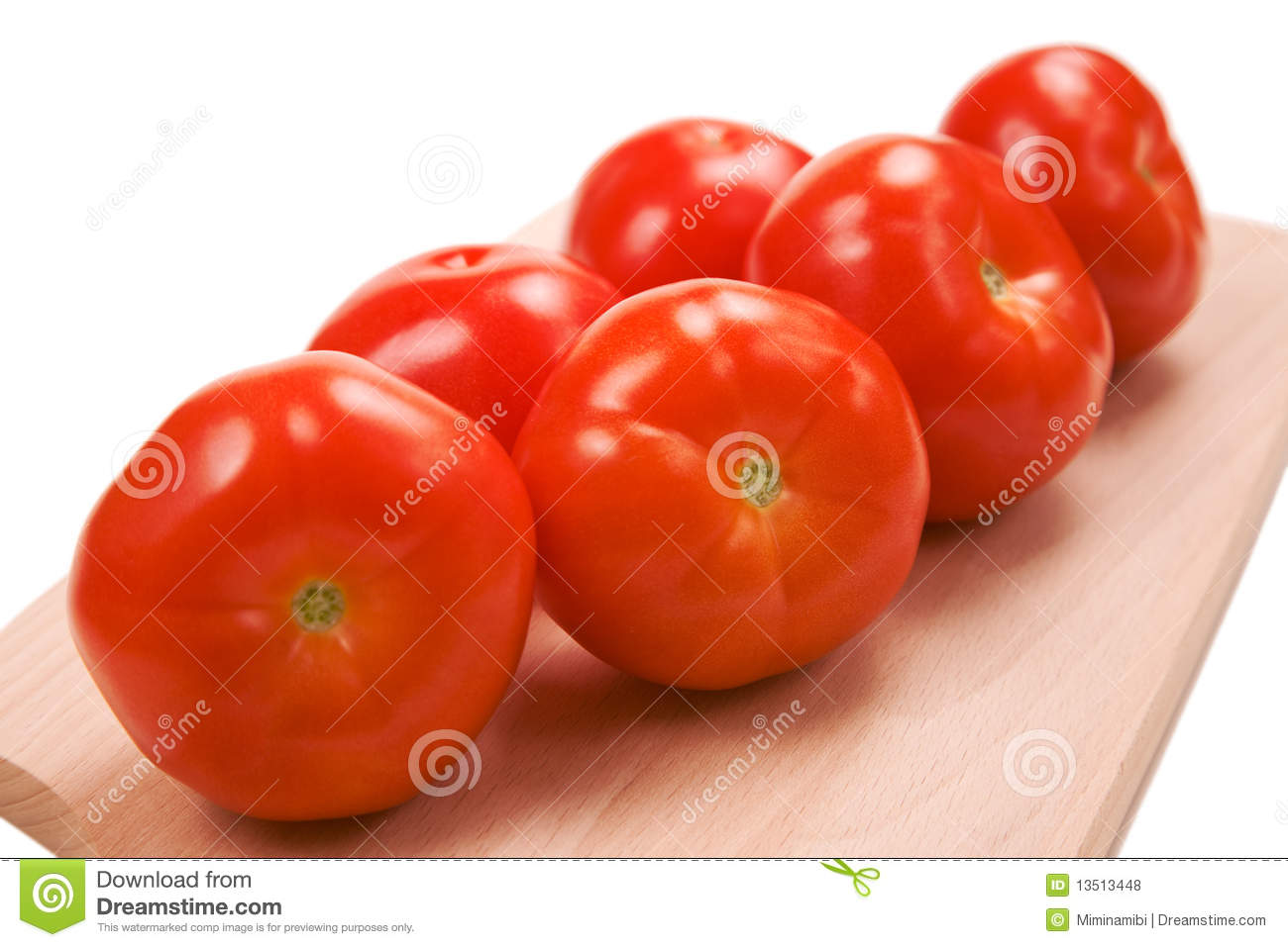 Six Fresh Red Tomatoes On Cutting Board Royalty Free Stock ...