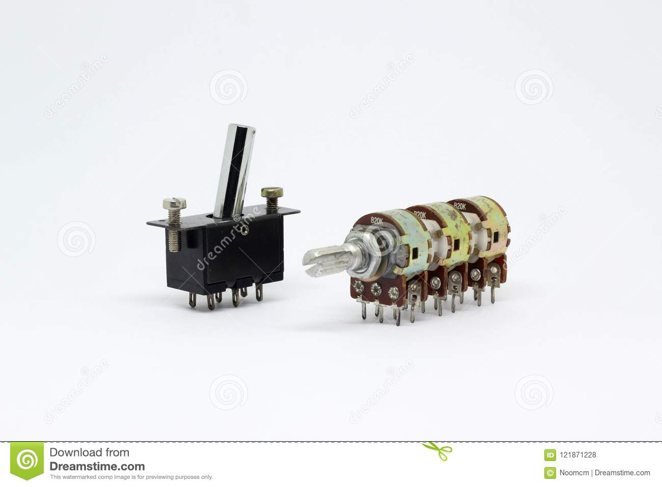Variable Resistor And Switch On White Background  Stock Photo