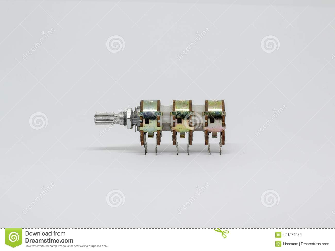 Variable Resistors On White Background Stock Photo Image Of Resistor Circuit Six Gangs Potentiometer Or