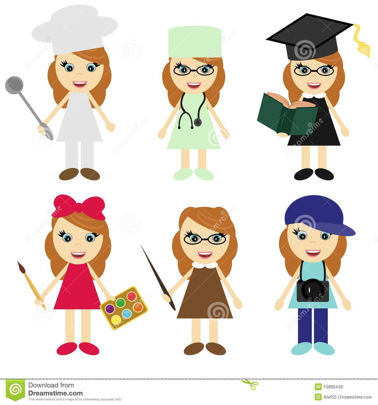 Six Girls Of Different Professions Stock Vector ...