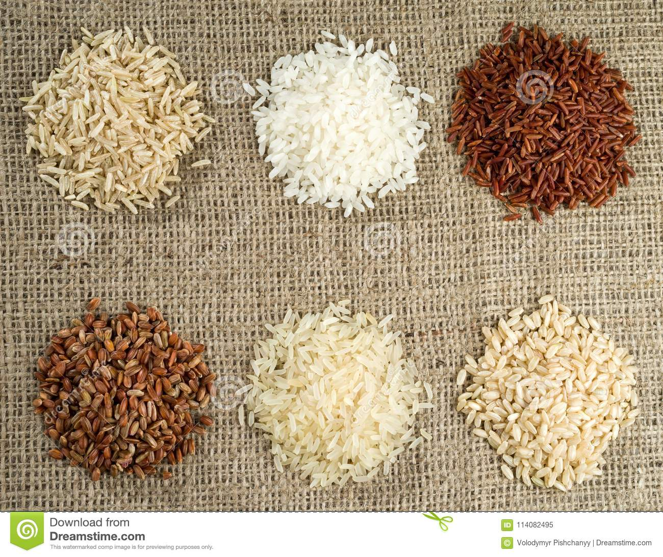Six heaps of rice of different varieties