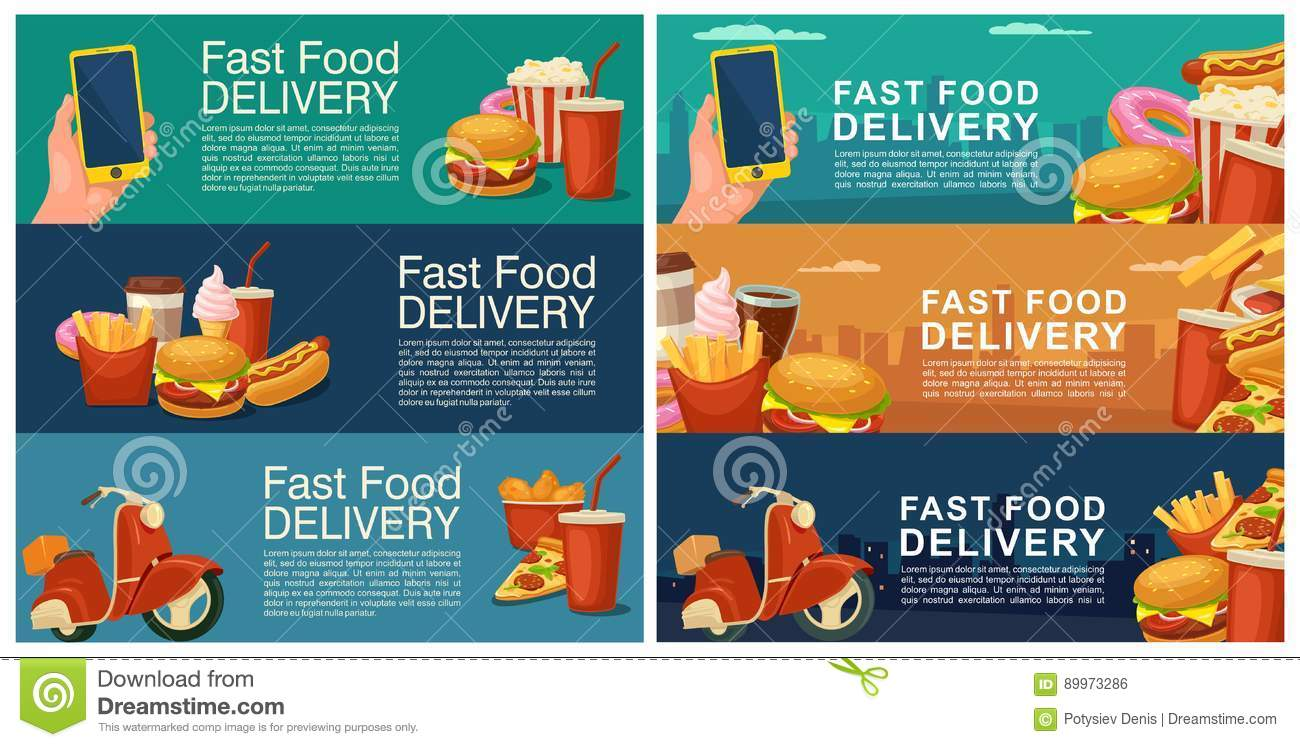 Six Horizontal Banner For Fast Food Delivery. Stock Vector