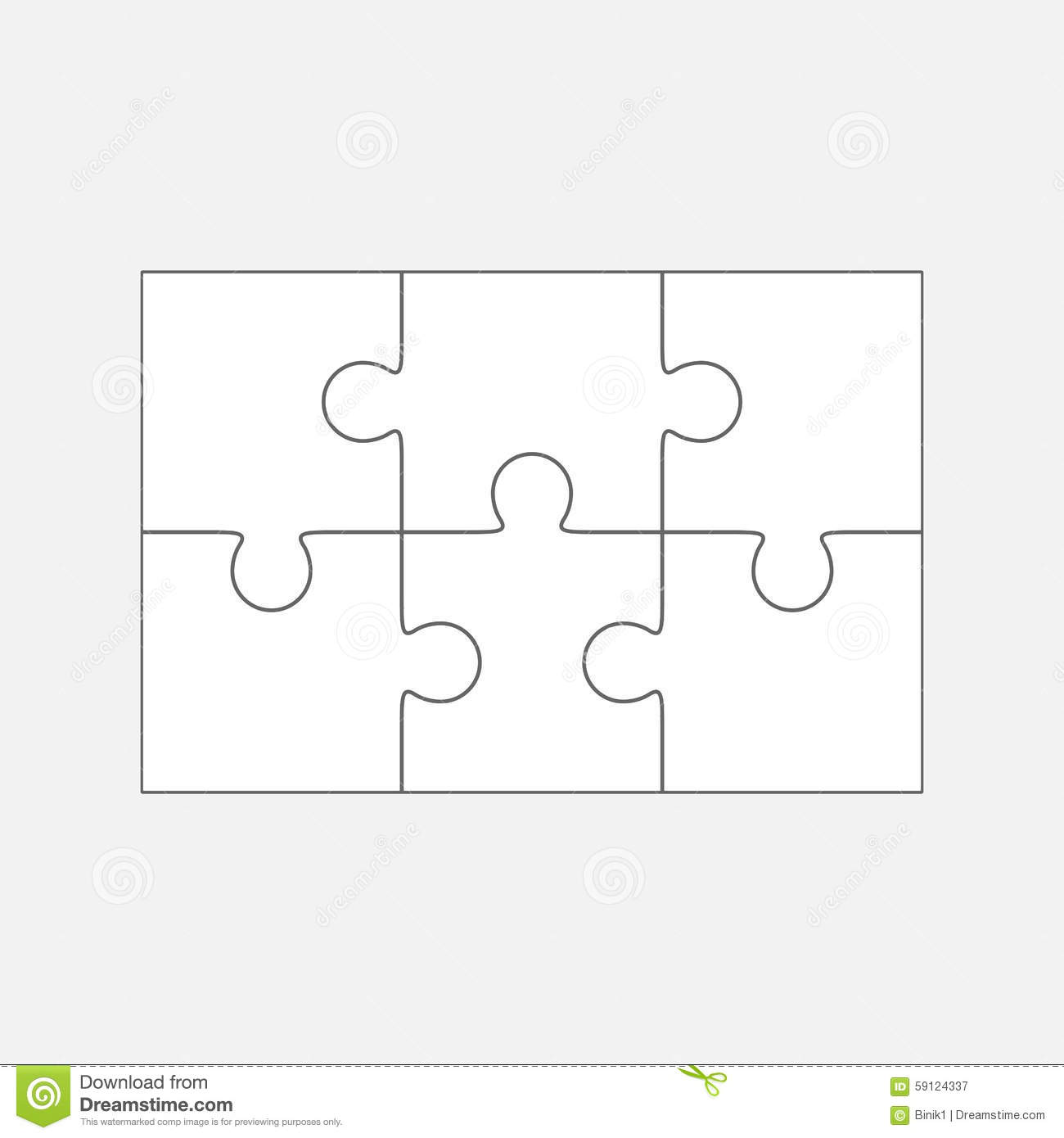 Six Jigsaw Puzzle Parts Blank 2x3 Pieces