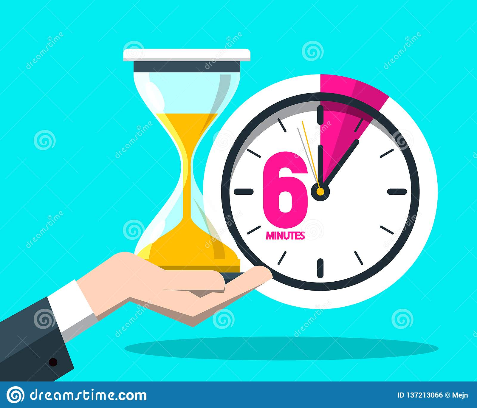 Six 6 Minutes Time Symbol  Clock Icon With Hourglass Stock