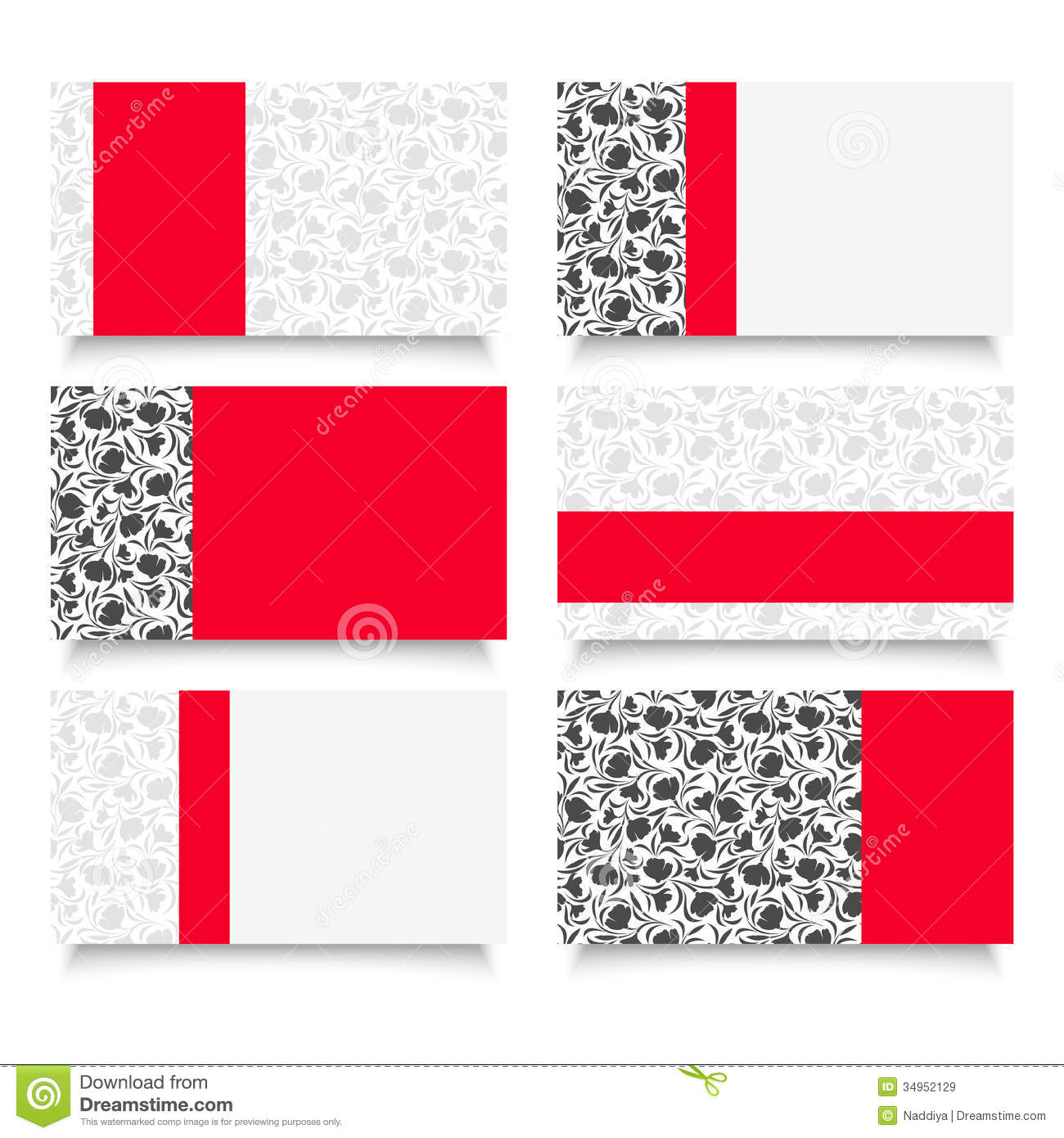 Six Modern Business Cards With Floral Patterns. Stock Vector ...