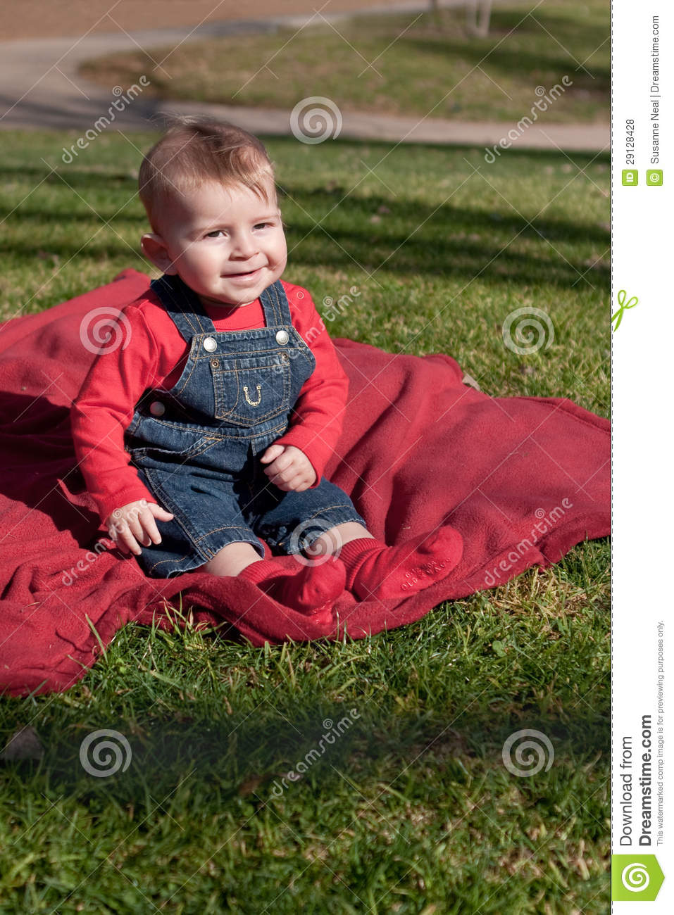 Six Month Old Boy On Red Blanket On Grass Royalty Free