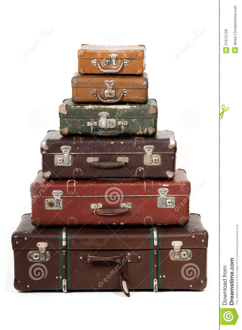 Old Suitcases Six Old Suitcases Royalty Free Stock Images Image 21672129