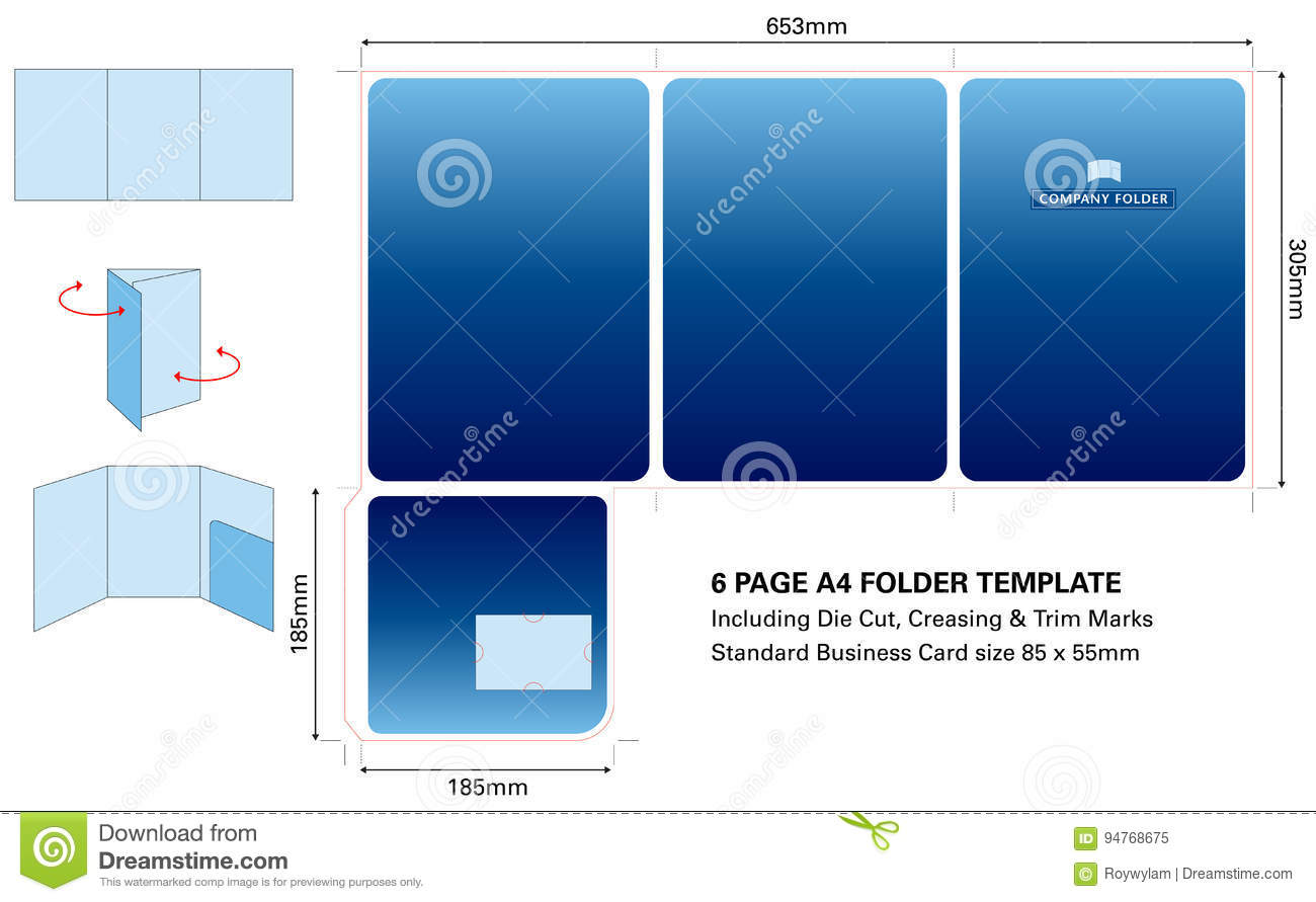 Six page a4 folder template with die cut and standard business card six page a4 folder template with die cut and standard business card accmission Images
