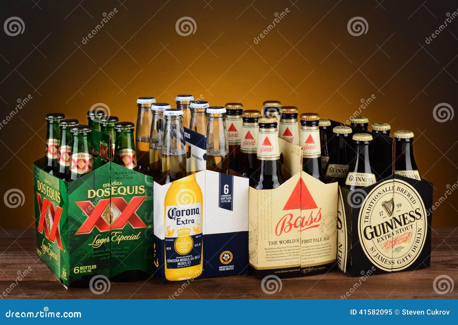 Six paquets de la bière importée