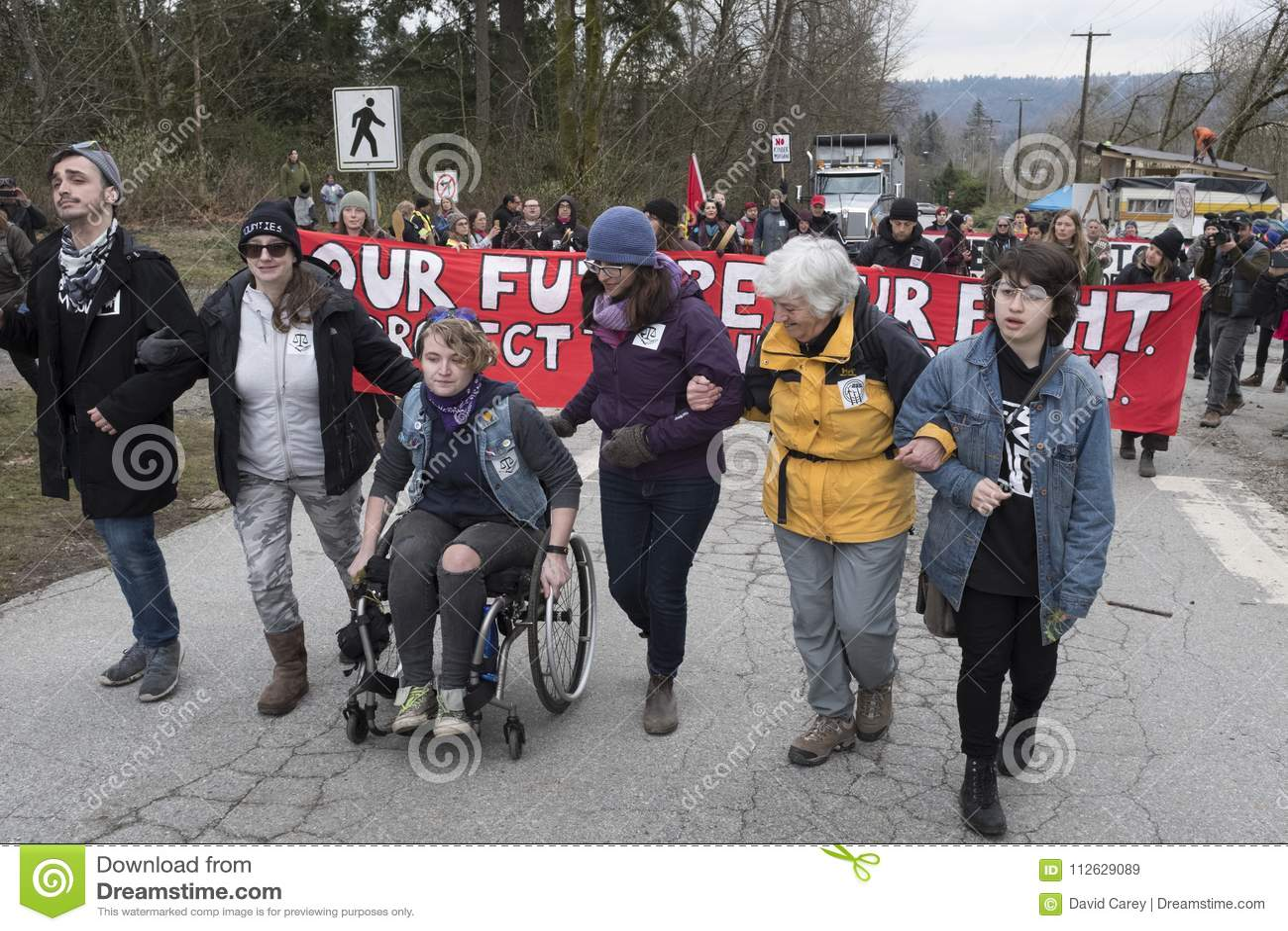 Protesters at the Kinder Morgan tank farm in Burnaby, BC