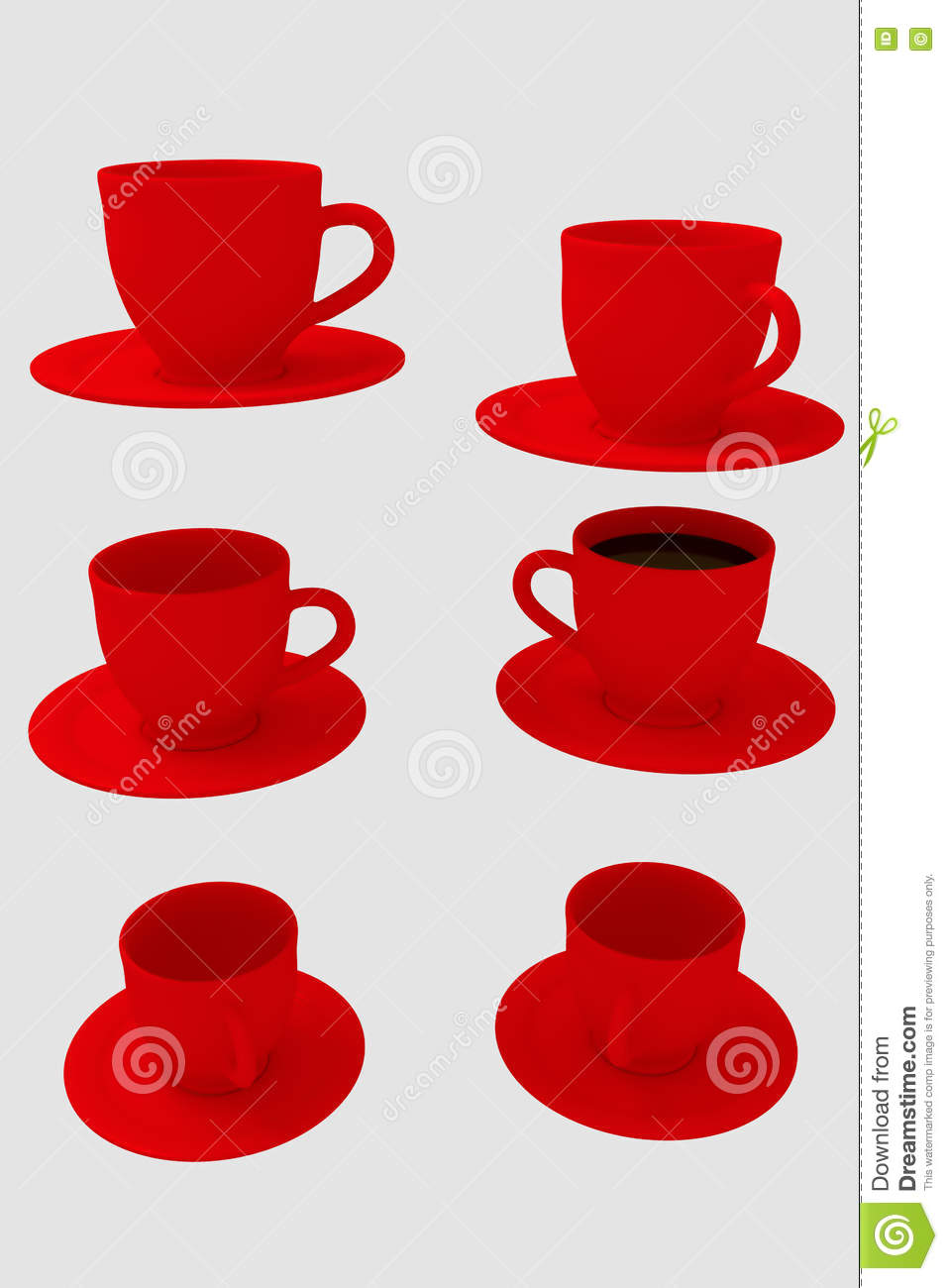 Six Red Coffee Cups With Saucer On White Background Stock Illustration Illustration Of Rendering Background 77306109